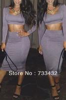 Free Shipping New Fashion 2014 Bandage Dress Club Nightclub Dress Long Sleeve Two Piece Bodycon Dress Sexy Women Dress For Party