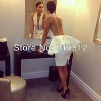 Fashion White Sexy Sheath Halter Ruched Peplum Short Rayon Ladies Party Dresses