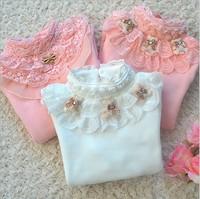 4pcs/lot hot sale girls spring autumn lace flower bear tshirt kids long sleeve cotton shirt 1035