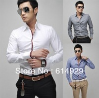 Free Shipping 2014 Brand New style Design Mens Shirts high quality Casual Slim Fit Stylish Dress Shirts 3 Colors Size:M~3XL