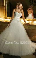 Free shipping Custom Made 2014 New Summer A-Line Sweetheart Beading Sleeveless Floor-Length Tulle Wedding Dresses Gown