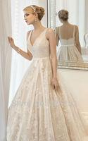 Free Shipping 2014 Fashion High Quality Sexy A-Line V-neck Lace Elegant Wedding Dresses DFSG-45