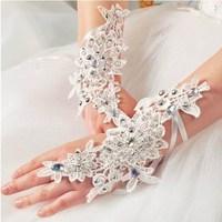 1 pair fashion hollow acrylic diamond lace bride gloves wedding gloves hook finger gloves fingerless bridesmaid banquet gloves