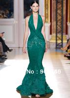 Halter V Neckline Floor Length Mermaid Backless Lace Appliqued Evening Dresses Free Shipping