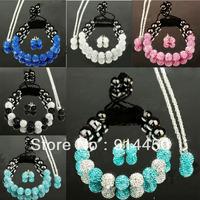 Free P&Pnew fashion Shamballa bracelet cute bracelets&necklace&earing handmade mix jewelry sets shambhalla