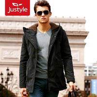 2013 autumn and winter thermal with a hood slim waist plus velvet men's wadded jacket men's clothing cotton-padded jacket