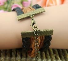 Free Shipping Wholesale Love Arrow Bird 5pcs Leather Multilayer Woven Necklaces Bracelets 18cm 5cm E1166