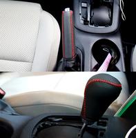 For CX-5 CX5 Mazda Genuine Leather Handbrake Grips + Gear Shift Collars Top Quality Handbrake Gear Shift Cover