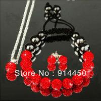 Free P&Pnew fashion Shamballa bracelet cute bracelets&necklace&earing handmade red jewelry sets shambhalla