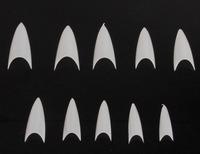 500Pcs/set Nail Art White/Clear/Beige Sharp End  Stiletto Acrylic False Fake Nails Tips French Manicure Artificial Nails Salon
