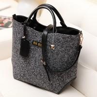 2013 women's winter handbag trend vintage blended-color woolen bag woolen bag portable one shoulder women's bags