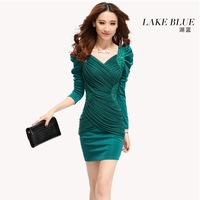 Autumn and winter 2013 autumn one-piece dress slim sexy women's V-neck tight hip slim one-piece dress