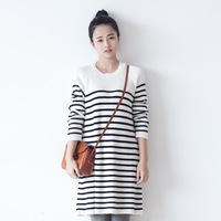 Q0682 stream brief stripe knit dress o-neck long-sleeve dress autumn and winter basic