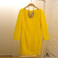 2013 a-line skirt slim woolen winter women's one-piece dress long-sleeve