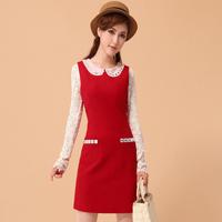 Sugar full body red woolen one-piece dress sparkling diamond peter pan collar tank dress bride dress