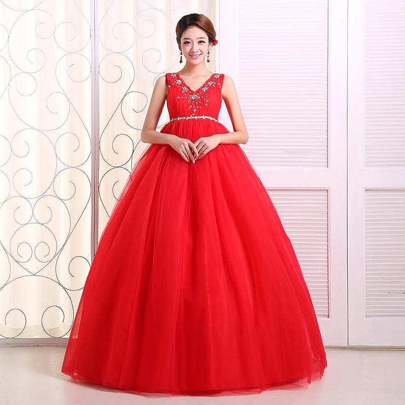 2013 wedding the bride red high waist strap wedding dress double-shoulder wedding slim maternity wedding dress(China (Mainland))