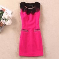 Woolen tank dress neckline lace decoration all-match woolen one-piece dress OL outfit red formal dress