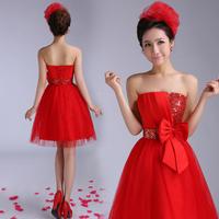 bride married dress short design red evening dress  tube top puff skirt