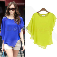 Women's chiffon shirts with ruffles design batwing sleeve short sleeve o-neck solid batwing shirt