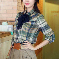 Women's slim long-sleeve cotton plaid shirt all-match casual shirt basic shirt with necktie