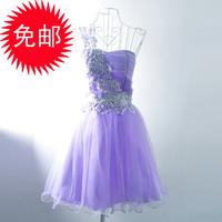 2013 fairy princess one shoulder dress one-piece dress oblique short design bridesmaid sisters equipment