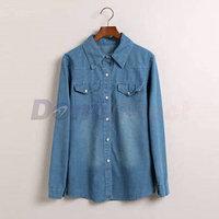 New women denim shirt long sleeve western slim denim blouse Casual jeans shirt