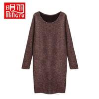 free shipping 2013 autumn and winter fashion slim basic woolen skirt slim hip one-piece dress basic sweater Women loose