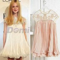 Autumn Korean Designer Doll Dress Women's Cute Apricot Short Sleeve Chiffon Pleated Dress sweetheart dresses