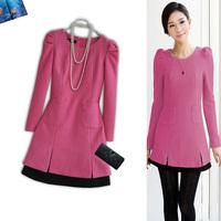 2 winter one-piece dress christmas dress long-sleeve woolen 929 one-piece dress pink