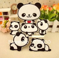 Wholesale Iron-on sew-on China Treasure Panda heart down jeans embroider patches badge for Kids DIY birthday gift for kids