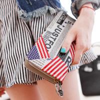 Pear doll wallet female cowhide flag plaid long design women's long design wallet q212
