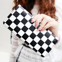 Lattice kqueenstar2013 black and white zebra print zipper long design women's wallet