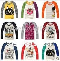 New 2015 t-shirts, cotton long sleeve children t shirts, cute cartoon t-shirt, candy color bottoming t shirt, nova kids
