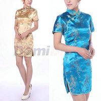 Women's Fashion Vintage Short China cDragon&Phoenix QiPao Dress embroidery China print dress