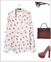 fashion White Black Long Sleeve Women Blouses & Chiffon shirt Kiss Red Lip Print Casual Top, Silk LIke with Button Closure Gaga