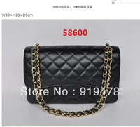 2013 famous brand luxury handbags women's bags designer genuine leather top quality Lambskin JUMBO Double Flaps 58600 black