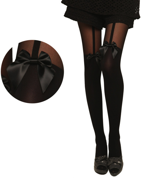 2014 New Fashionable Brand Japanese Harajuku Garter Stockings Sexy Women Pantyhose Mock Suspender Nylon Sheer Bowknot Tights(China (Mainland))