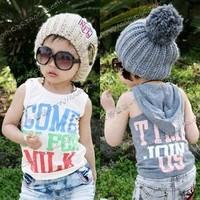 2014 summer letter boys clothing girls clothing sleeveless T-shirt with a hood vest tx-0490  sxl