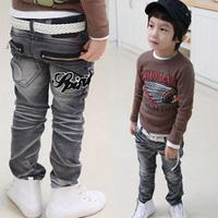 2014 spring letter zipper boys clothing baby child long trousers jeans kz-2213  sxl