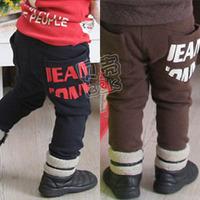 2014 autumn pocket letter of paragraph boys clothing baby fleece trousers casual pants kz-1136  sxl