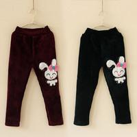 2014 autumn and winter rabbit girls clothing child velvet thickening long trousers pencil pants kz-3012  sxl