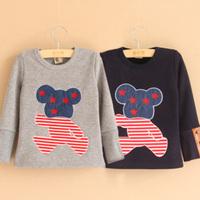 2014 autumn and winter bear boys clothing child velvet thickening long-sleeve T-shirt tx-2323 basic shirt  sxl