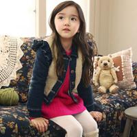 2013 autumn and winter girls denim child clothing thickening wadded jacket cotton-padded jacket cotton-padded jacket outerwear