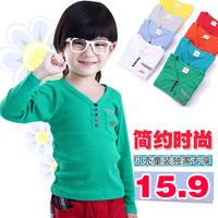 2014 spring letter boys clothing girls clothing child V-neck long-sleeve T-shirt tx-2121 basic shirt  sxl