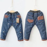 2014 winter boys clothing baby child thickening long trousers jeans kz-3118  sxl