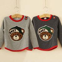 2014 autumn and winter bear boys clothing child thickening fleece t-shirt basic shirt tx-2527  sxl