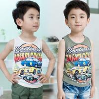 2014 summer automobile race boys clothing baby child T-shirt sleeveless vest tx-1668  sxl