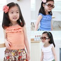 2014 summer baimuer laciness girls clothing baby child T-shirt sleeveless vest tx-1751  sxl