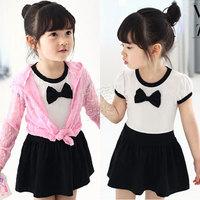 2014 summer girls clothing baby child qz-0671 short-sleeve bow dress  sxl