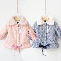2013 winter fur collar girls clothing child thickening cotton-padded jacket wadded jacket cotton-padded jacket outerwear wt-1897